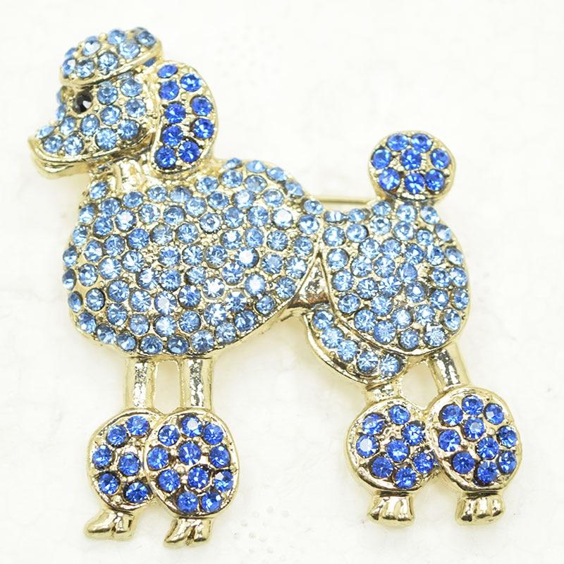 Azul Strass cão Poodle Pin broches C297 B2