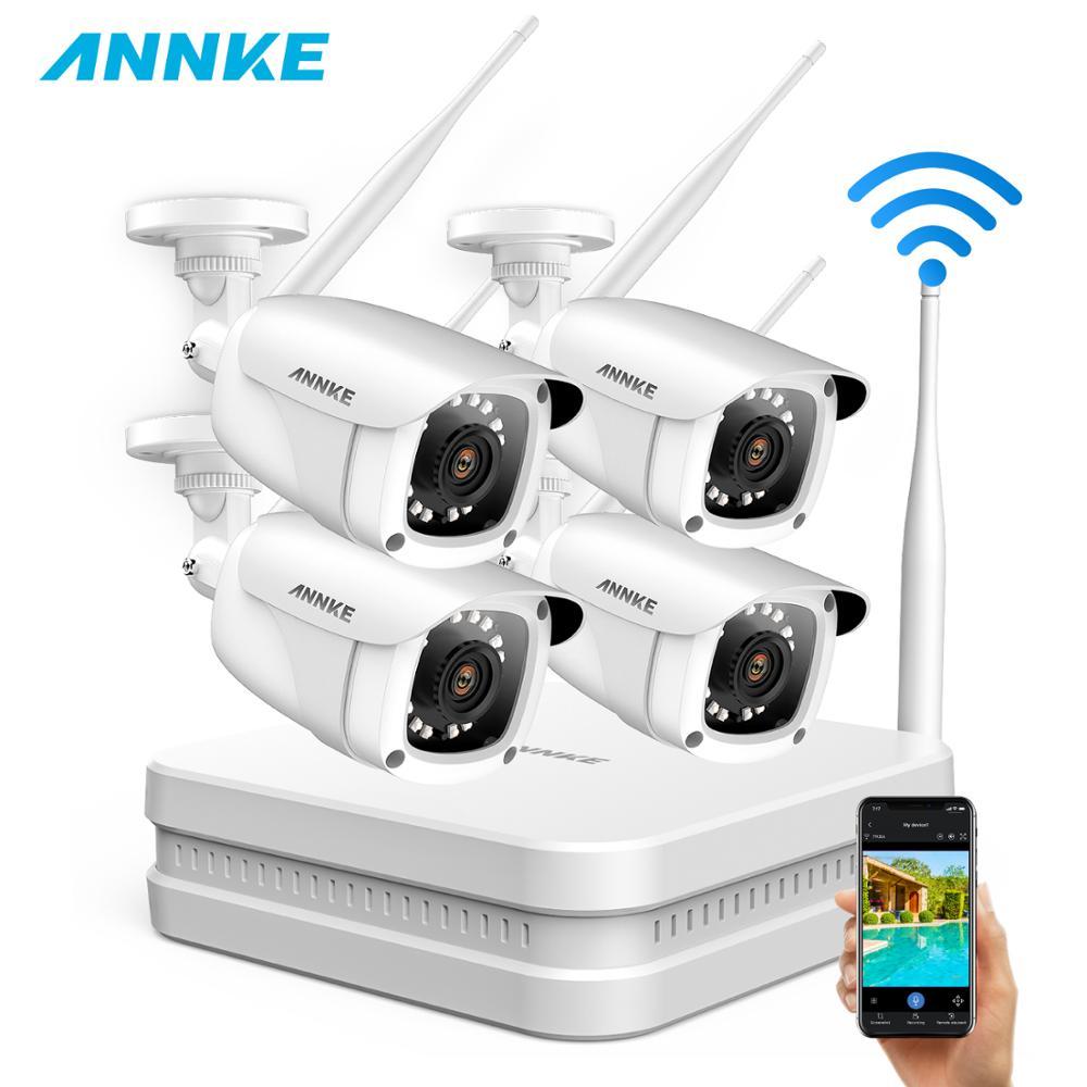Sistema de Video vigilancia ANNKE 8CH 1080P FHD WiFi NVR con cámaras IP a prueba de agua y balas de 2MP visión nocturna de 100 pies con IR inteligente