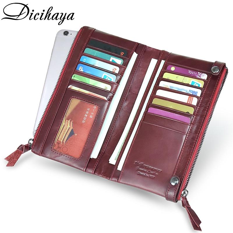 DICIHAYA Genuine Leather Women Wallet Fashion Girls Purse Card Holder Double Zipper Long Wallets Lady Clutch Wallet Coins Bag