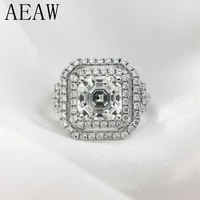aeaw solid genuine 14k 585 white gold asscher cut and round moissanite engagementwedding lab diamond ring double halo ring