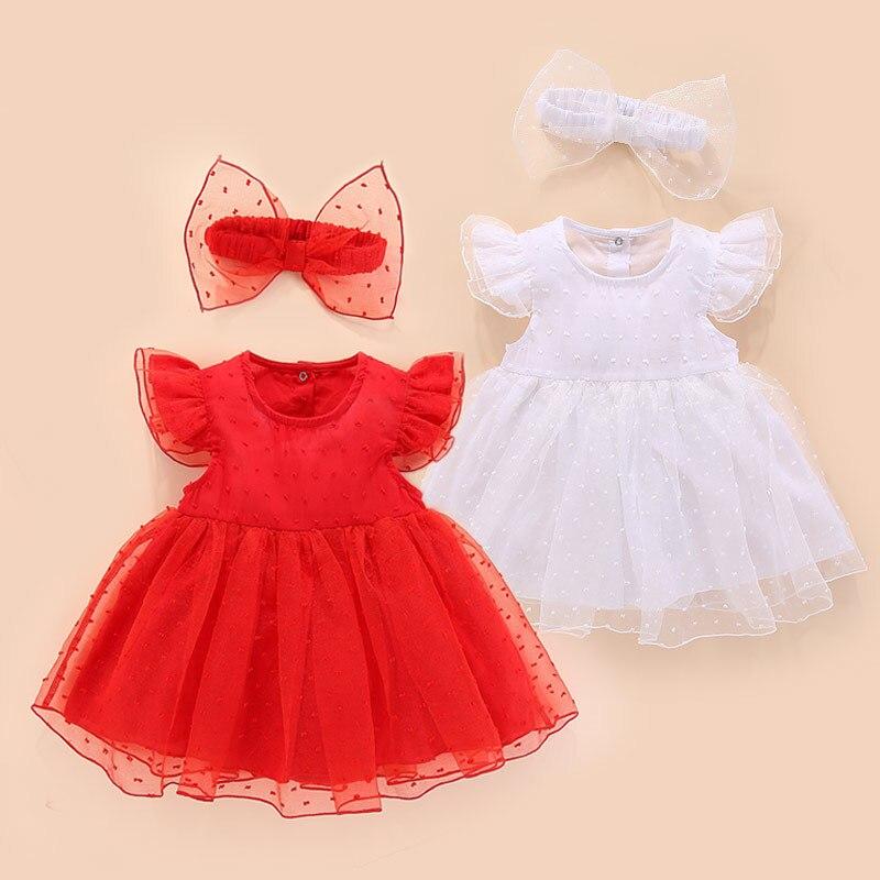 Verano recién nacido vestido de bebé Estilo Princesa rojo blanco algodón vestido para bebé de encaje bautismo y bodas ropa de bebé para fiesta de cumpleaños del bebé