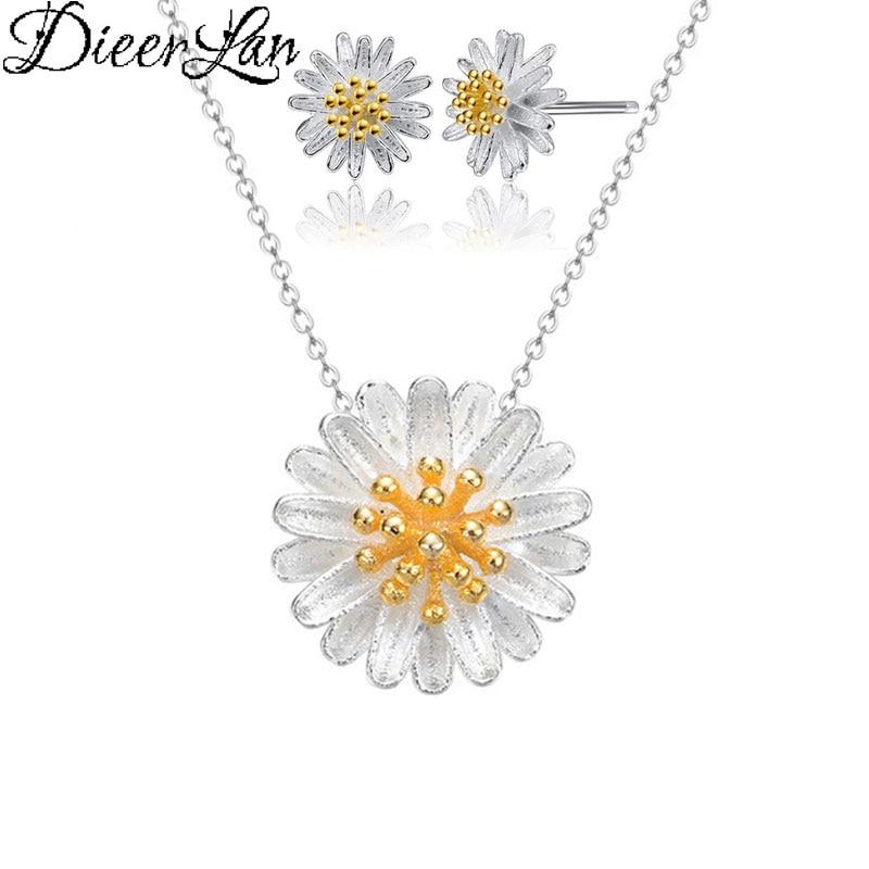 DIEERLAN Dubai Boho Jewelry Sets 925 Sterling Silver Daisy Flower Earrings Choker Necklaces for Women Wedding Bridal Jewelry