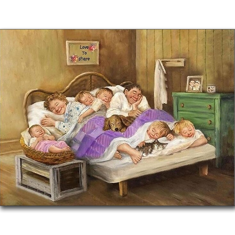 Full Square/Round Drill 5D DIY Diamond Painting Family sleeping Embroidery Cross Stitch Home Decor