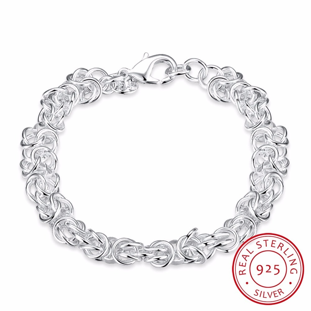 Lekani Mens 925 Sterling Silver Fine Jewelry 6mm Leading Shrimp Buckle 8 Inchs 20cm Bracelet Bangle Pulseiras De Prata