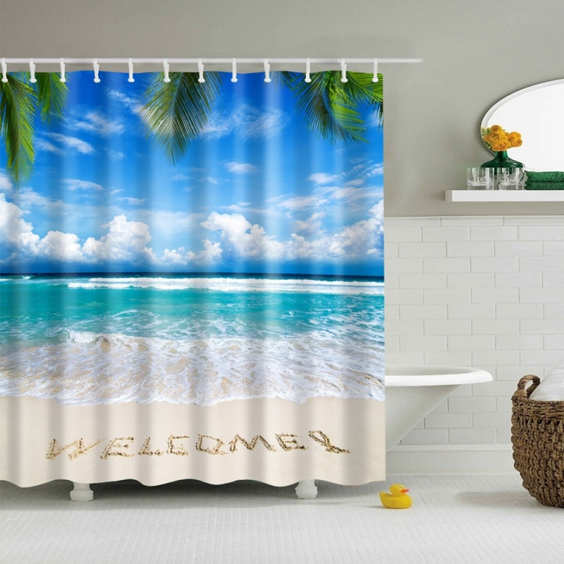 shower curtain Fabric Shower Curtain Ocean Decor Collection  Seascape Sea Beach Picture Print Bathroom Set
