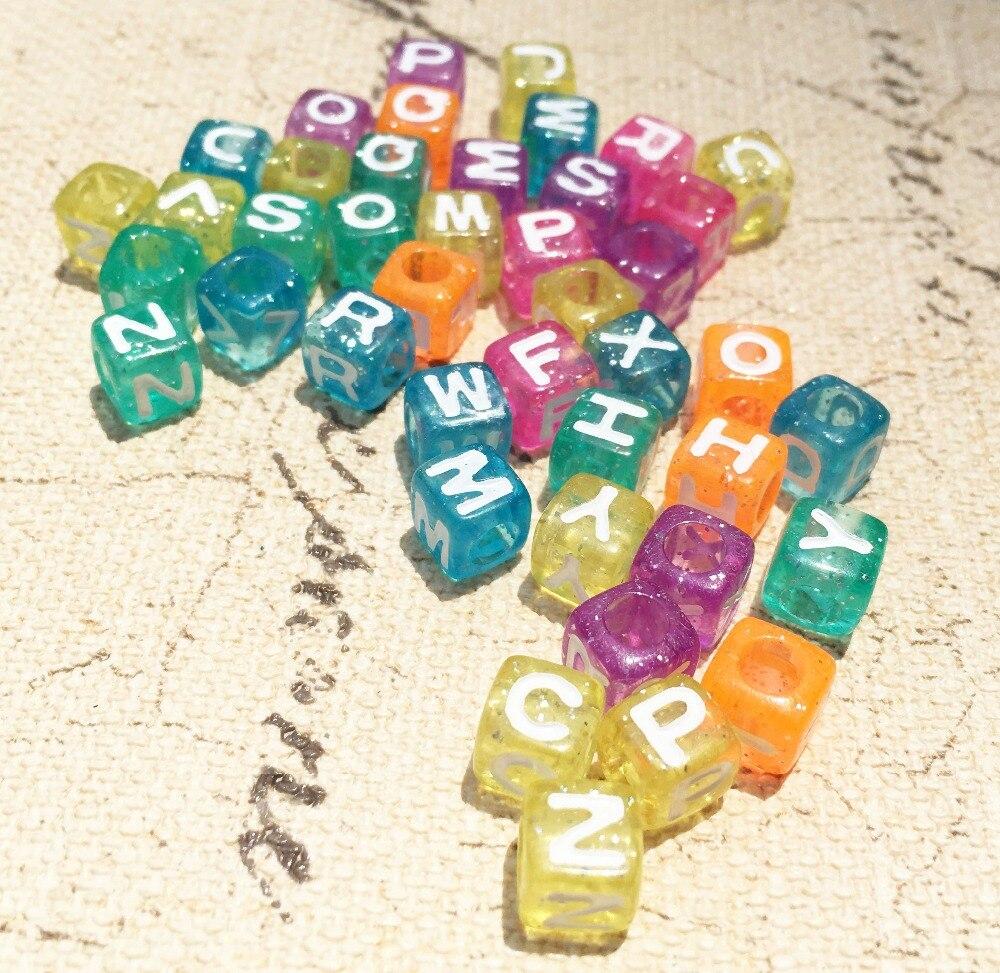 Бесплатная доставка 1900 шт 400 шт 7*7 мм Bling прозрачные цвета акриловые буквы Бусины пластиковые Алфавит ювелирные бусины