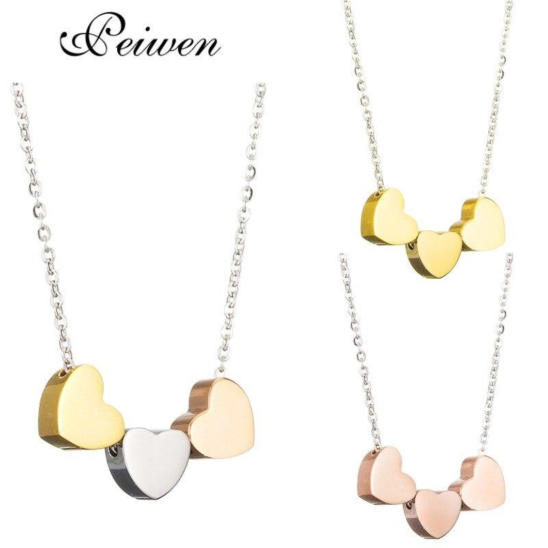 Mini collar con colgante de Tres corazones para mujer, gargantilla de tres mejores amigos de acero inoxidable, cadena de Color plata oro rosa, regalo de joyería