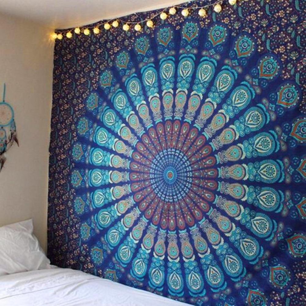 Tapiz de plumas de pavo real Mandala indio de poliéster, malaquita psicodélica, verde Hippie, toalla de playa colgante, colcha Bohemia