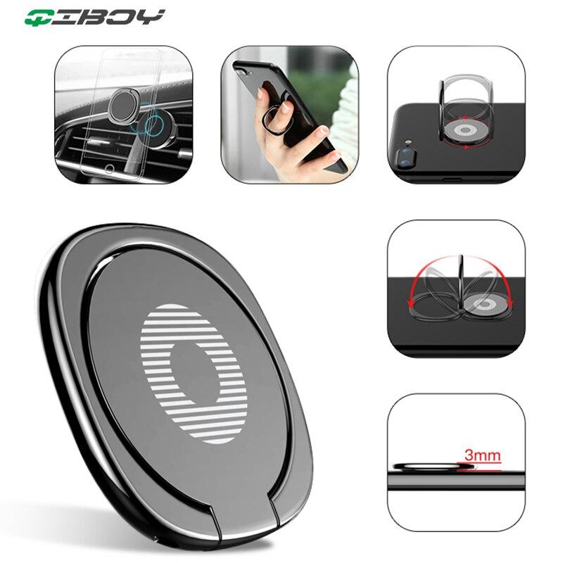 360 grad Finger Ring Telefon Halter Auto Montieren Metall Sockel Stehen Für iPhone 8 iPad Xiaomi Huawei P30 Smartphone Grip ring Halter