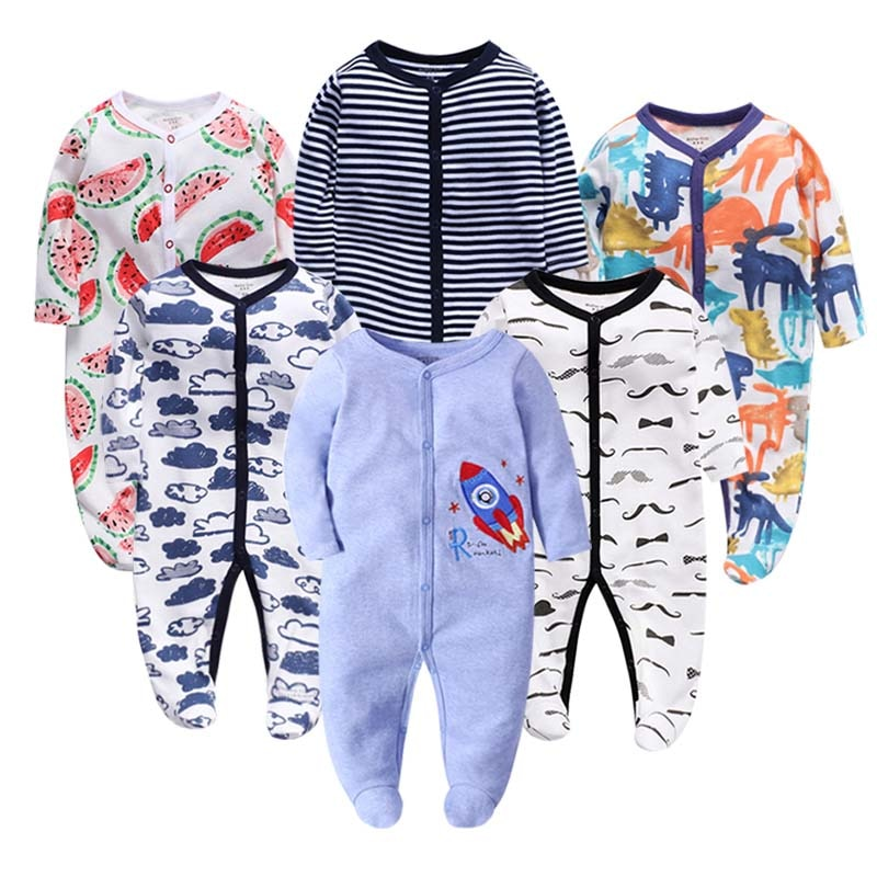 6PCS/Lot Newbron winter Baby Rompers Long Sleeve set cotton baby junmpsuit girls ropa bebe baby boy girl clothes