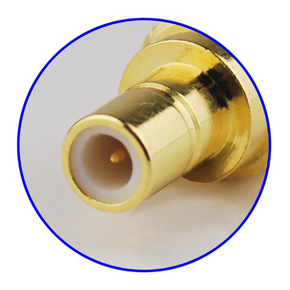 Superbat 10pcs SMB Thru Hole Jack Right Angle Nut Bulkhead PCB Mount 50 Ohm RF Coaxial Connector