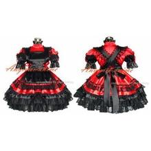 Sexy Sissy femme de chambre Satin rouge robe verrouillable uniforme Cosplay Costume sur mesure [G359]