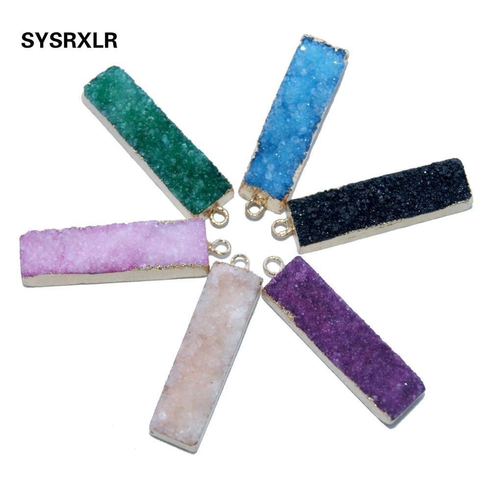 Venta al por mayor 1 Uds 6 colores único rectángulo Drusa natural piedra de cristal colgante Irregular geoda DIY Collar para la fabricación de joyas
