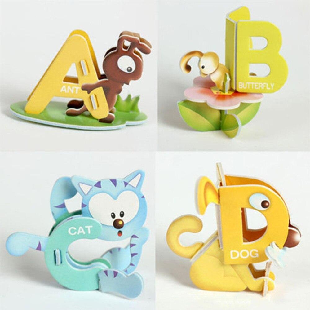 Puzles de 26 letras en 3D DIY para niños, puzles de diseño...