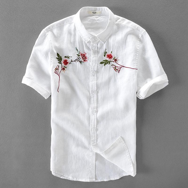 قميص كتان رجالي ، قميص كتان مطرز ، أكمام قصيرة ، قميص أبيض ، ماركة صيفية غير رسمية ، قميص رجالي 3XL ، مجموعة جديدة 2017