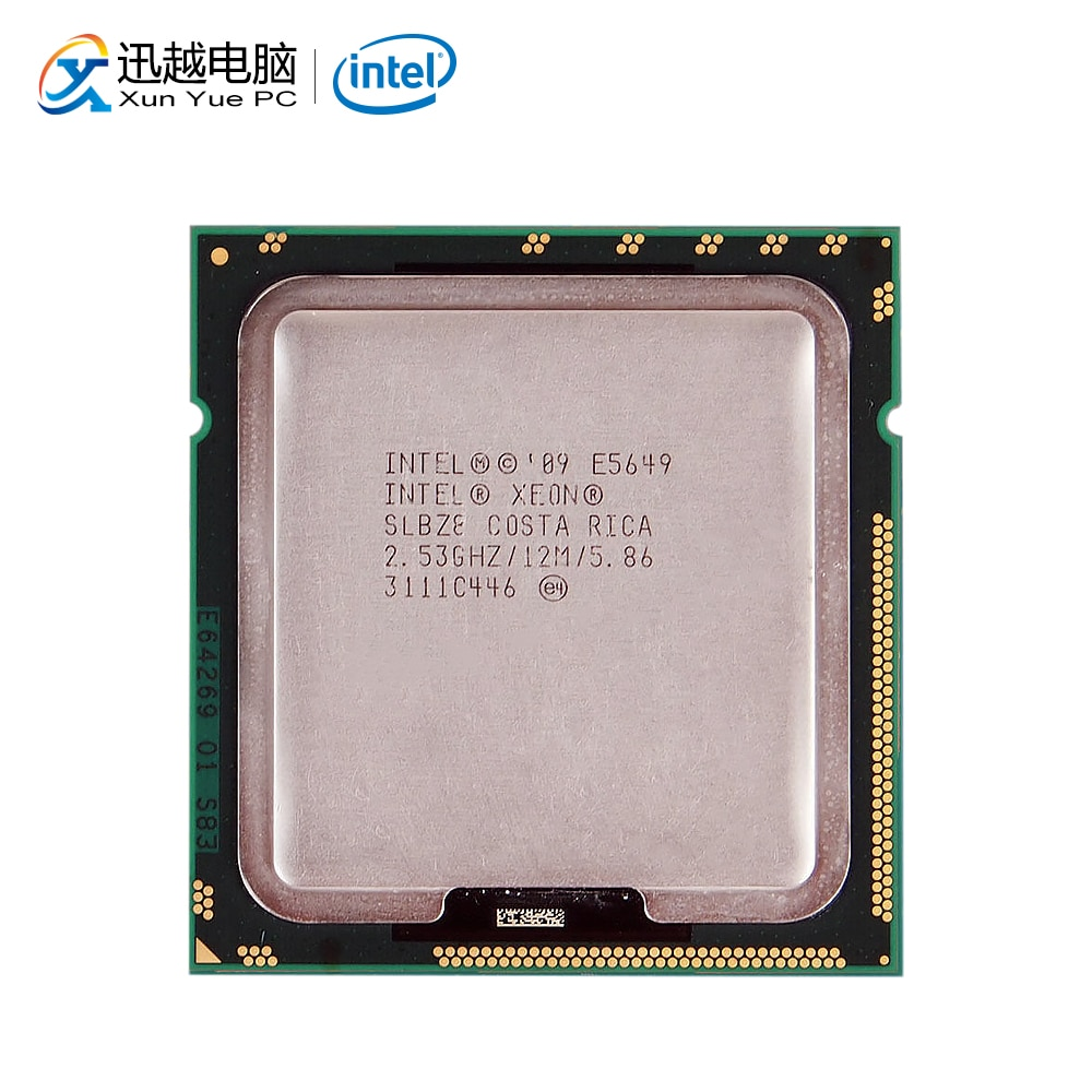 Intel Xeon E5649 escritorio procesador seis-Core 2,53 GHz L3 caché 12MB 5,86 GT/s QPI LGA 1366 SLBZB 5649 Server CPU utilizada