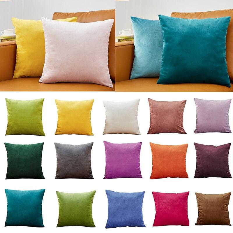 Наволочка Бархатный Чехол для подушки 40x40 см для гостиной дивана декоративные подушки украшения для дома Housse De Coussin желтый зеленый синий