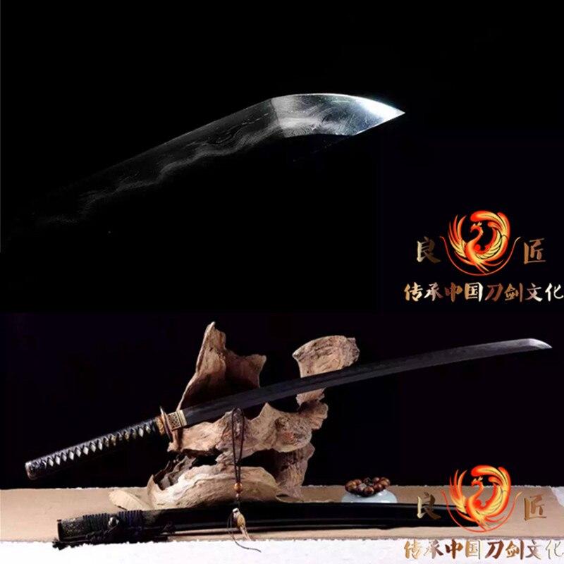 Hecho a mano de arcilla templado T10 doblado Kobuse hoja de acero Katana japonesa espada