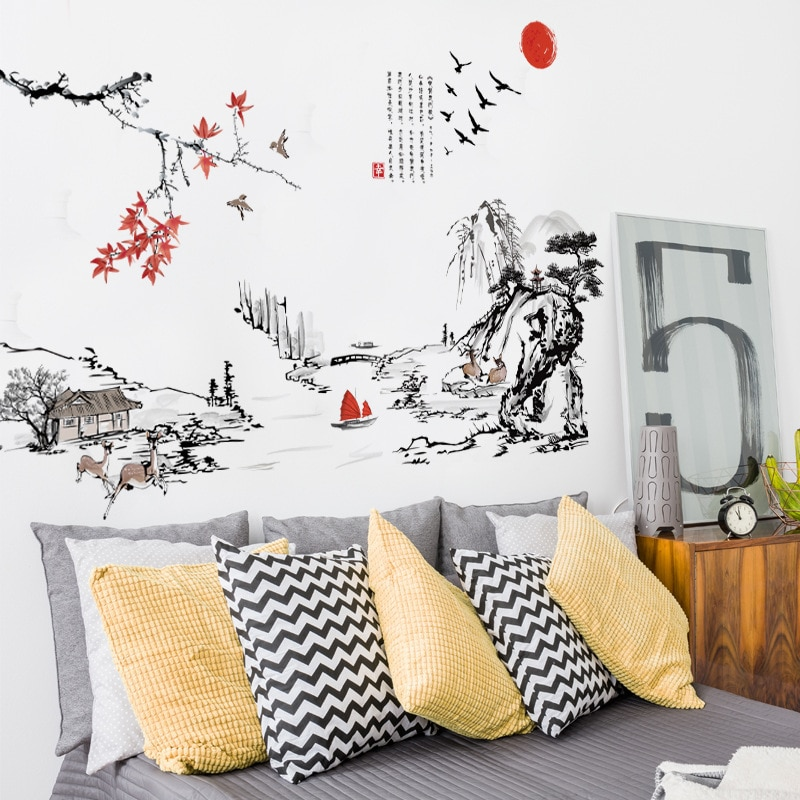 Купить с кэшбэком Chinese style Ink painting landscape art Wall Stickers Living room Bedroom background for home decoration Mural Decals wallpaper