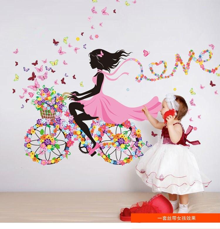 Наклейки на стену «сделай сам», домашний декор, розовая Наклейка на стену для девочки, для девочки, для спальни, гостиной, декорацион hogar