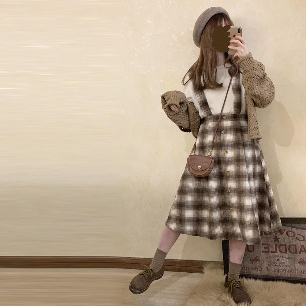 تنورة طويلة كلاسيكية للنساء على طراز موري فتاة تنورة طويلة 2021 بخصر عالٍ من الصوف تنورة كلاسيكية منقوشة للركبة في المدرسة تنورة