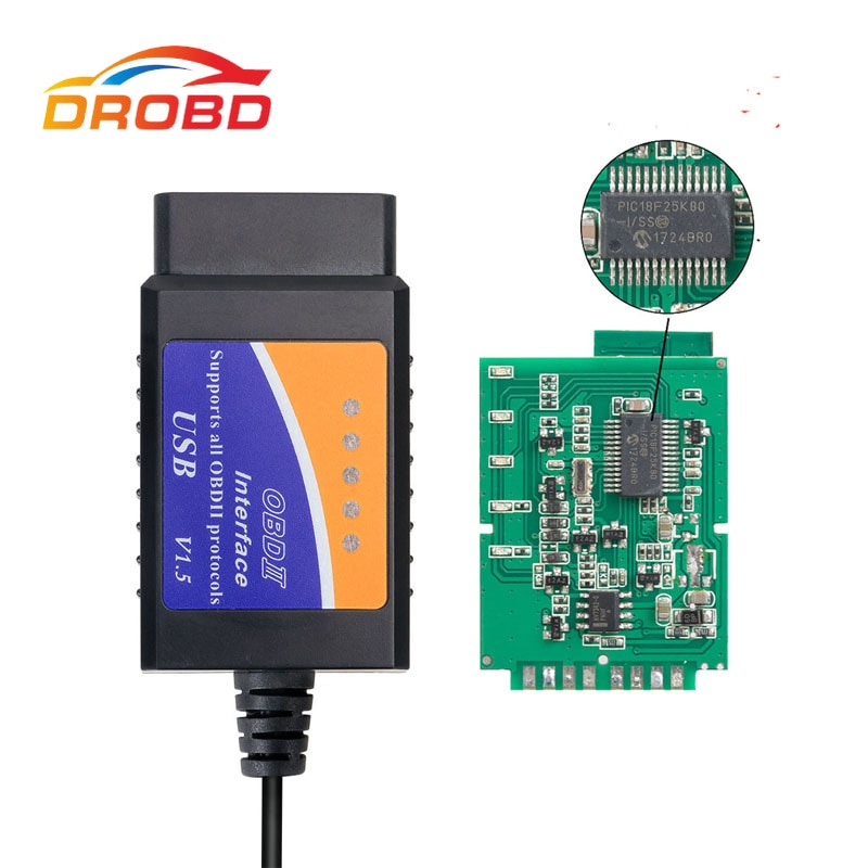 Auto Code Reader OBD2 Scanner ELM327 USB with PIC18F25K80 Chip Car Diagnostic Tool Interface V1.5 Version for Engine Fault Code
