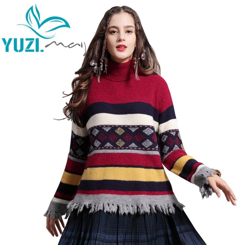 Женский свитер Yuzi.may в стиле бохо, новый пуловер из хлопка и шерсти в полоску, вязаный Рождественский свитер с высоким воротником и кисточкам...
