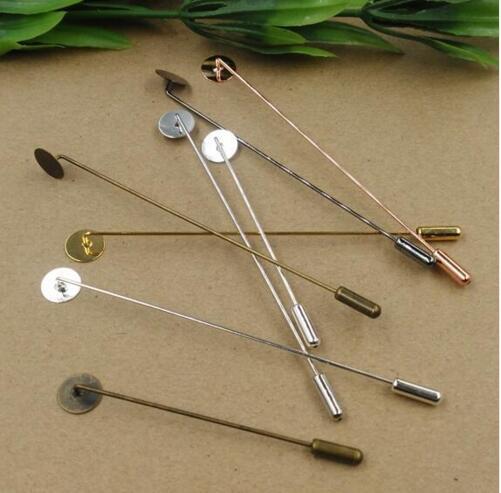 100 Uds Retro moda 10mm almohadilla redonda 65mm sombrero pines broche largo palo pin solapa base ajuste diy accesorios de joyería