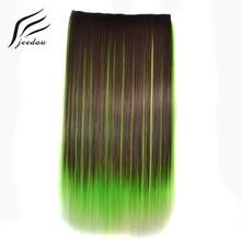 """Jeedou 5Clips Rechte Synthetisch Haar Clip in Een Stuk Hair Extensions 22 """"55 cm 100g Blauw Bruin groen Roze Ombre Piano Kleur"""