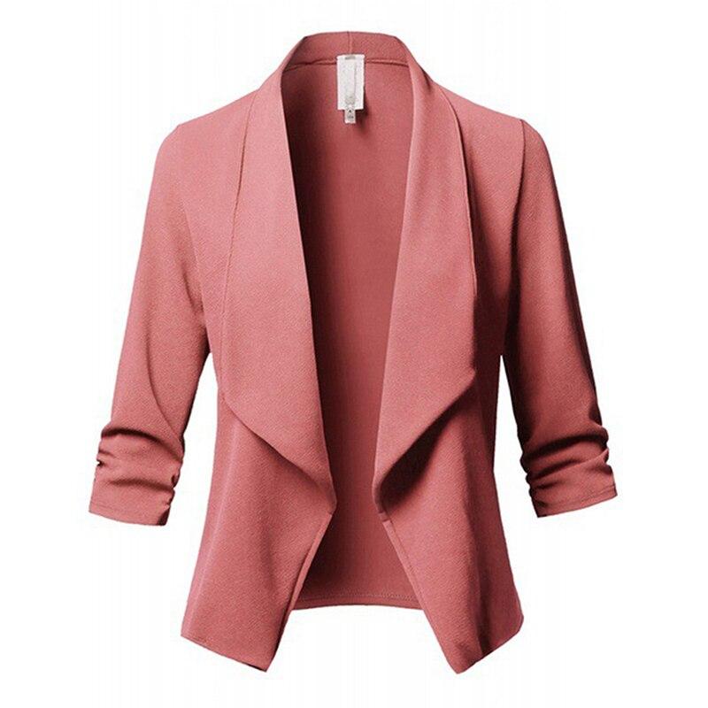 Wiosna jesień swobodny kardigan topy tee kobiety formalne marynarki praca w biurze z otwartym przodem Slim Ladies Blazer streetwear