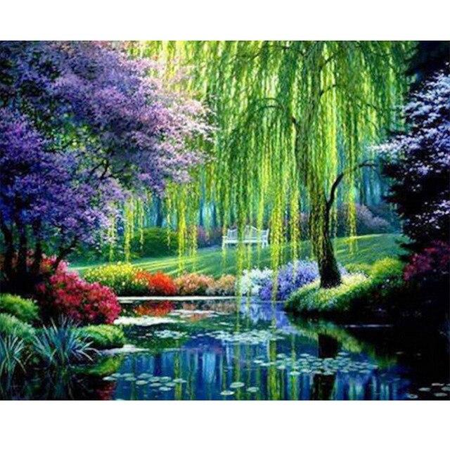 5d chorando salgueiro e lagoa paisagem imagem diy pintura diamante completo ponto cruz mosaico bordado decoração para casa artes