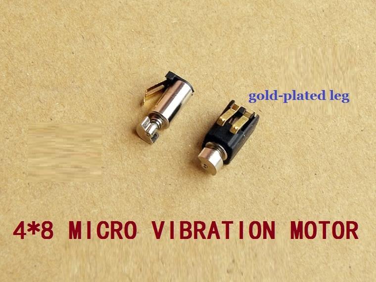100 unids/lote 4*8mm Super miniatura Motor de taza hueca/vibrador 1,5-3 V 0,03-0,06 A con patas chapadas en oro que vibran muy fuerte.