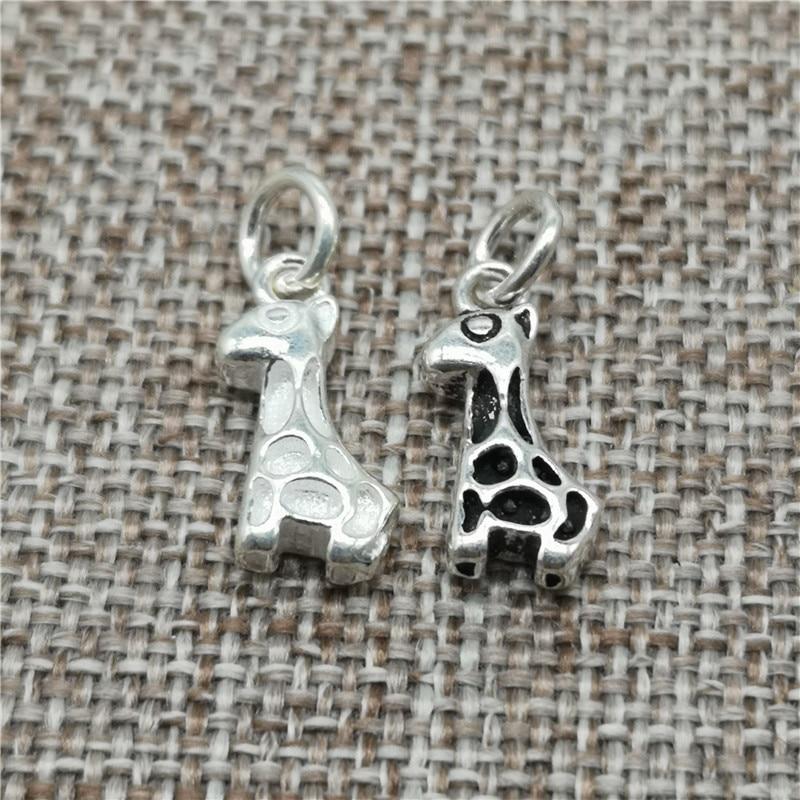 Collar de pulsera con dijes de jirafa y plata de ley 925
