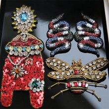 Handgemachte perlen snake zikade Patches für kleidung DIY nähen auf pailletten strass patches Perlen applique parches bordados para