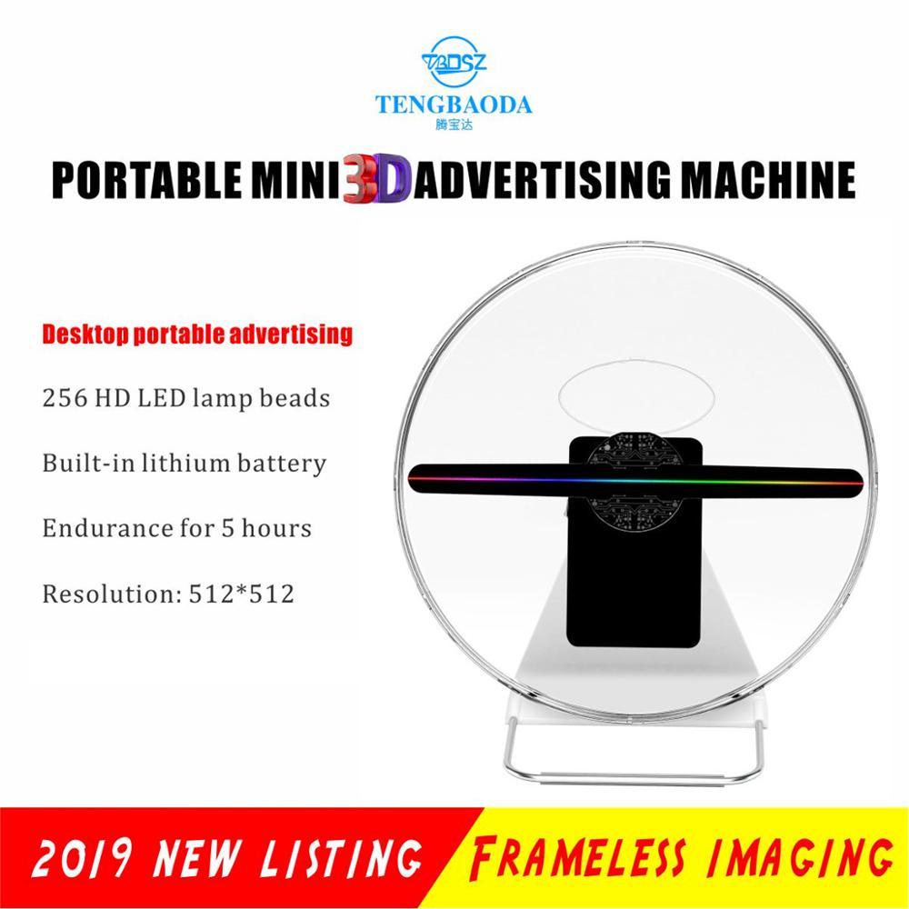 TBDSZ 30cm 3D vídeos holograma holograma publicidade display holográfico Projetor fã luz recarregável 16GB 256 contas de Luz LED