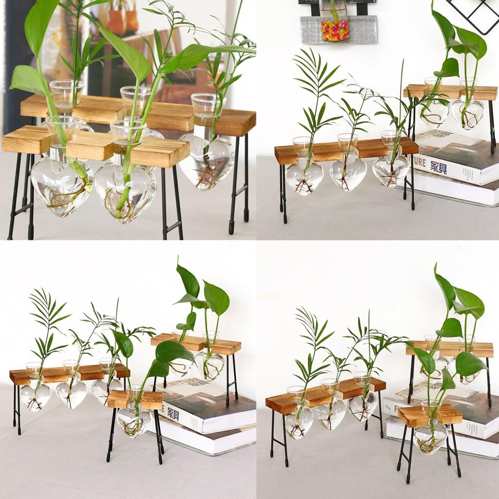Florero transparente terrario creativo de planta hidropónica, marco de madera, florero de decoración de mesa de cristal, florero de decoración para bonsái