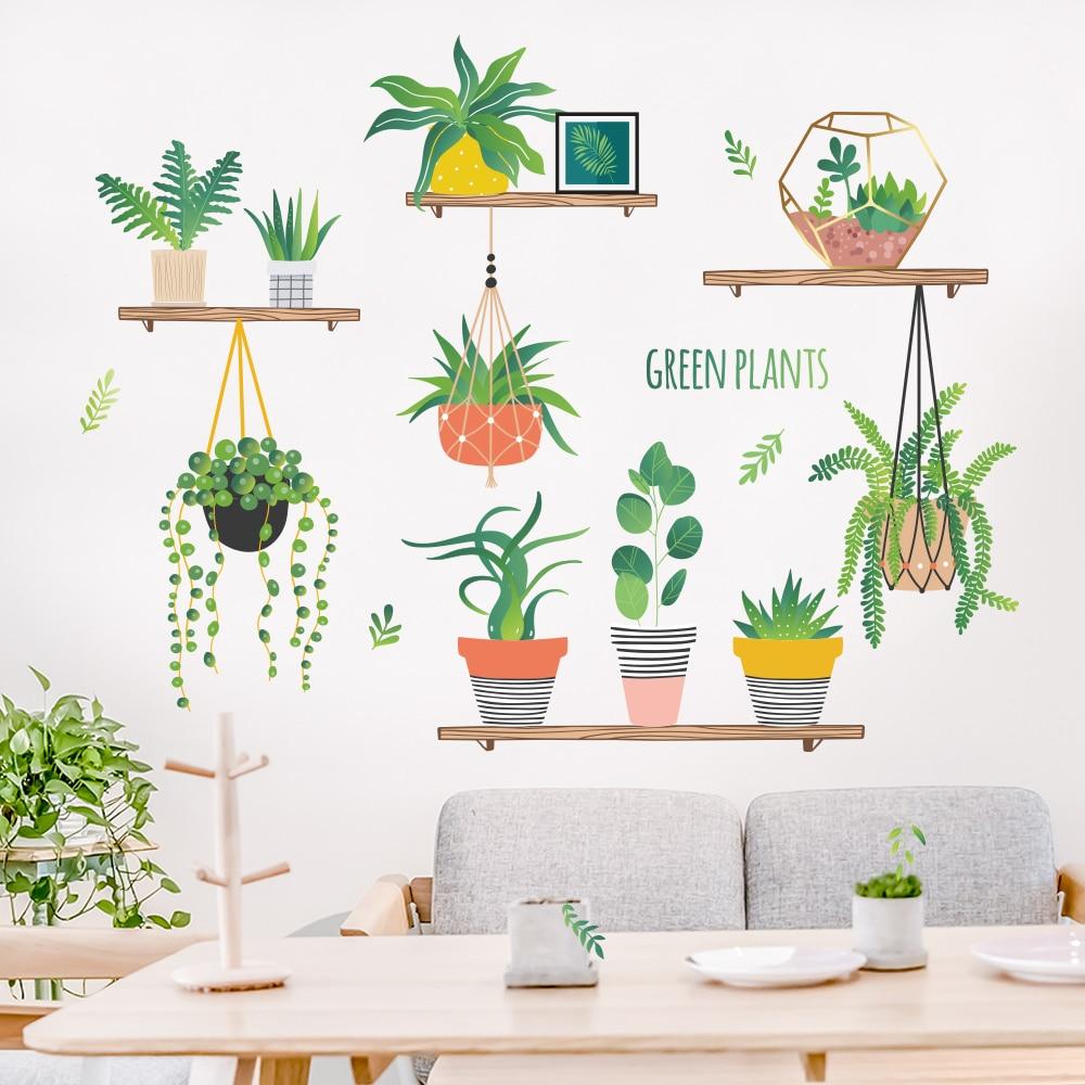 Garden plant bonsai flower butterfly wall stickers home decor living room kitchen pvc wall decals diy mural art decoration