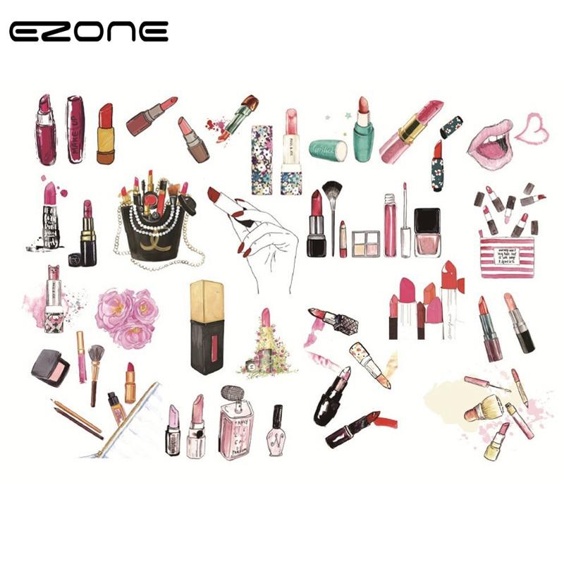 Adhesivo de cosméticos EZONE adhesivo de papelería para habitación de chicas bolsa/zapatos/lápiz labial papel adhesivo papelería adhesivo de manualidades para álbum de recortes
