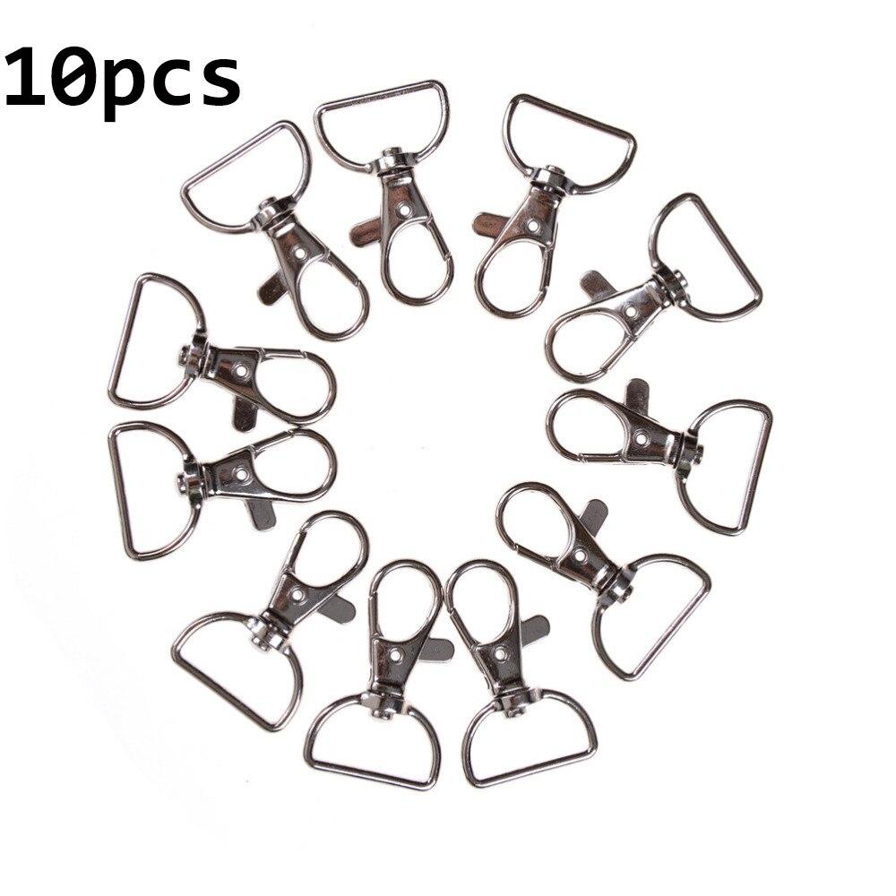 10 unids/lote llavero con anilla de Metal broche de pinza giratoria Clips clave ganchos llavero anillo partido DIY bolsa joyería