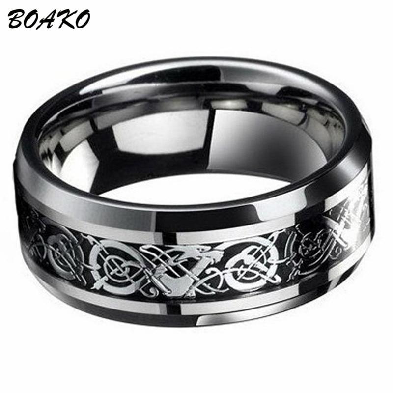 Anillos BOAKO de titanio y acero inoxidable para hombre, anillo de ciclista gótico Punk, tótem de Dragon runa, anillos para hombre, anillo de boda, anillo para hombre
