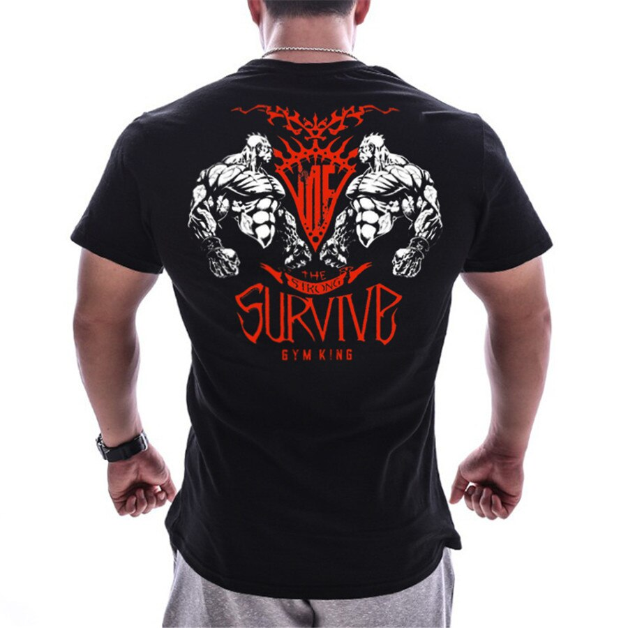 Mens Running Sports Cotton T-shirt Gym Fitness Bodybuilding Short sleeve t shirt Summer Male Jogging Training Tee Tops Clothing