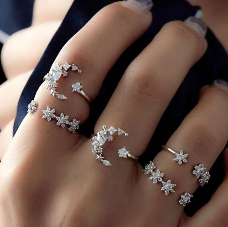 5 uds nuevos anillos para mujer pequeña luna de cristal dedo anillos para nudillos de Alianza mujer joyería boda fiesta Bague Femme