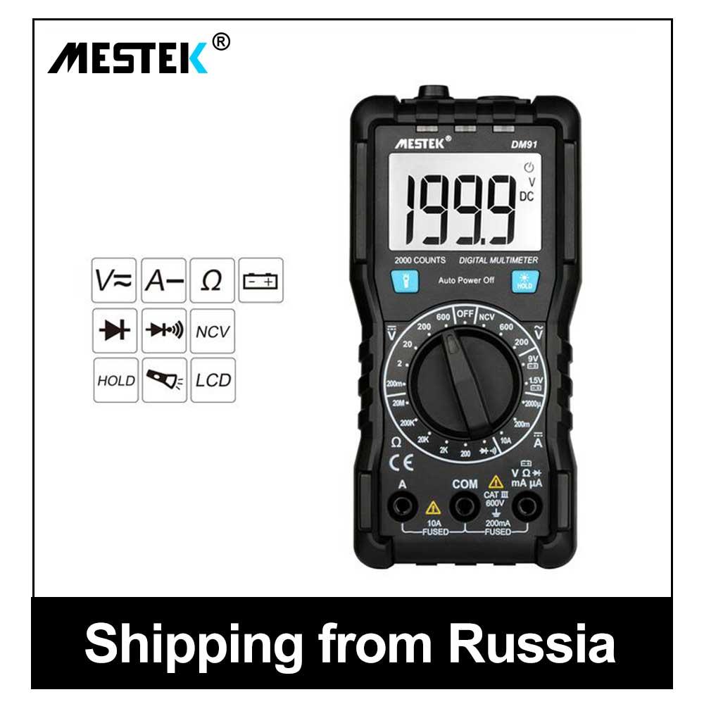 MESTEK Digital Multimeter True-RMS 1999 Counts AC/DC Ammeter Voltmeter Ohm Multimetro Tester Multimeters Voltage Multimetre DM91