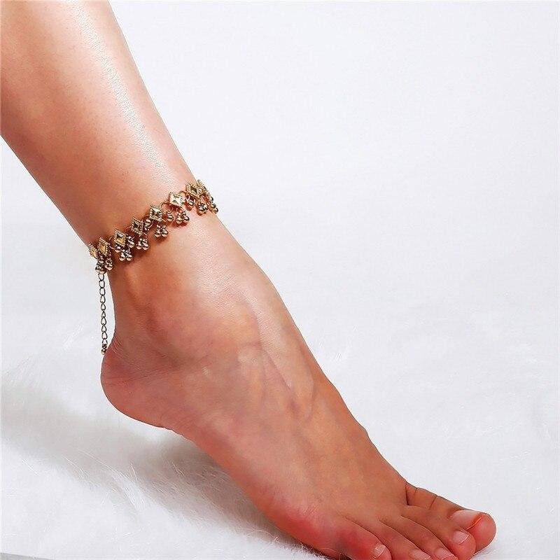 2020 модный винтажный браслет на ногу, Золотой/Серебряный цвет, ювелирные изделия из нержавеющей стали для женщин, индийский Halhal