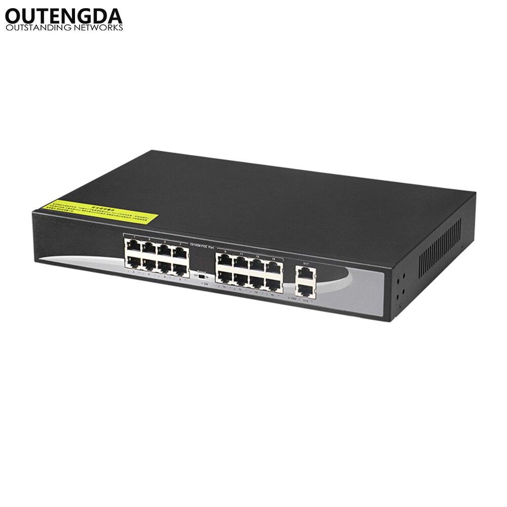 16 puertos pasivo 24 V POE puertos de interruptor 2 Gigabit Uplink fuente de alimentación 24 v sobre Ethernet a IP cámaras/teléfonos, AP inalámbricos