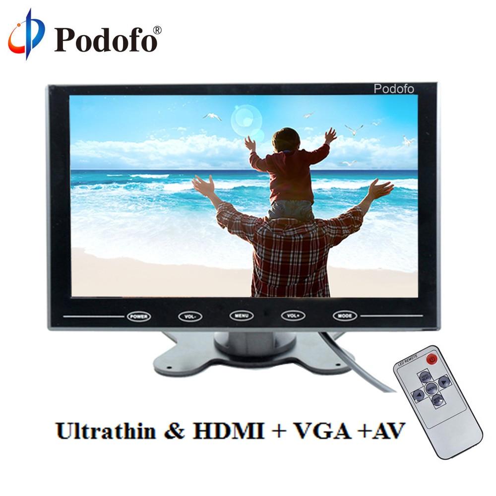 "Podofo 9 ""monitor lcd tft mini monitor a cores 2 entrada de vídeo monitor do carro tela de exibição para pc cctv hdmi av-in monitor de segurança"