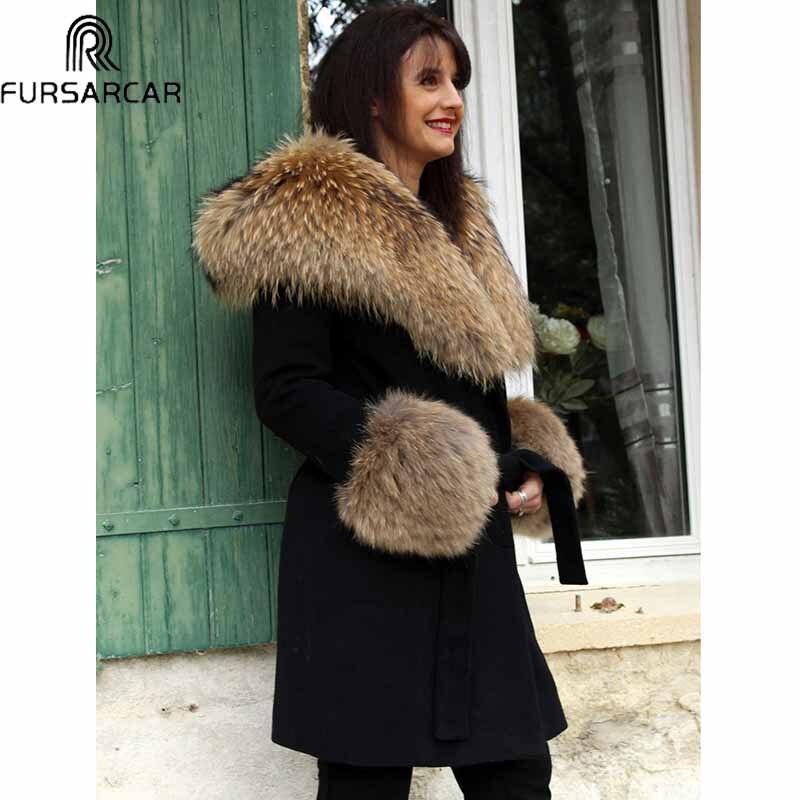 FURSARCAR натуральный На зимнем меху куртка для мальчика с меховым капюшоном, подкладка, женские, модные, Роскошные, Женский кашемировый длинный...
