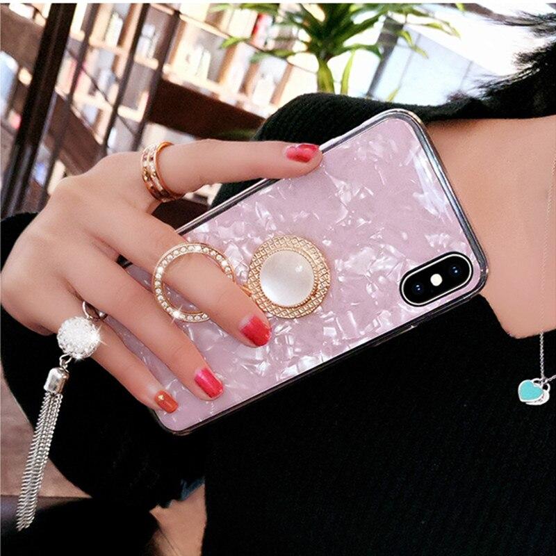 Lujoso Cristal de estrás para Huawei Nova 5 5i Pro 4E Nova 7 Pro 7 SE Y9 Prime 2019 Y7 2017 soporte de anillo borla funda del teléfono carcasa