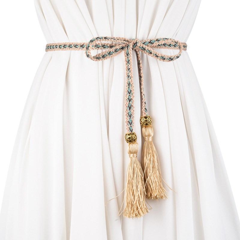 2018 Women Fashion national style Knitted Belt 160cm Thin Waist Rope Belts Women Derss Accessories With Tassels AD0369