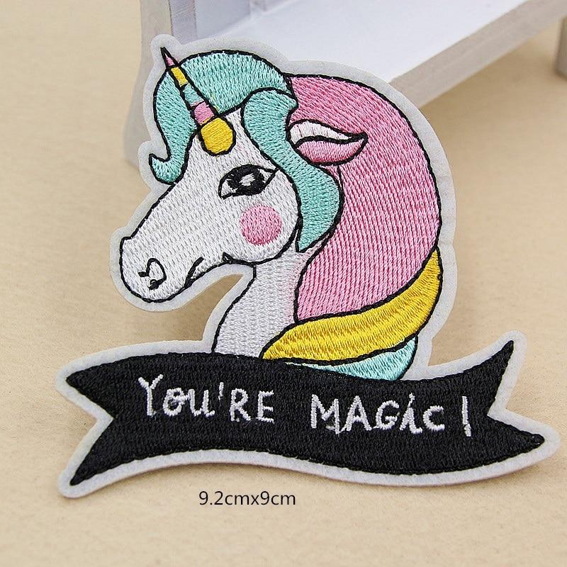 10 Uds. Parches bordados de unicornio Animal eres Magic Iron On costura apliques insignia parche para ropa pegatinas para chaquetas Jeans